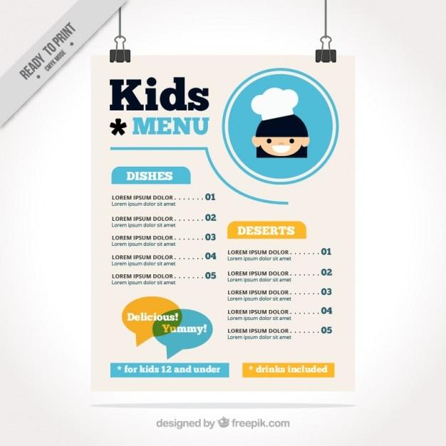 Menu Enfant Avec Des Détails Bleus En Design Plat Vecteur gratuit
