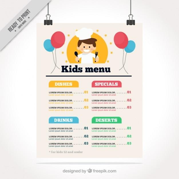 Menu Enfant Plat Avec Un Chef Heureux Et Ballons Vecteur gratuit