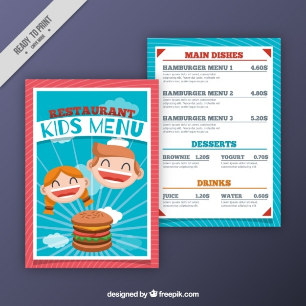 Menu Enfant Plat Avec Hamburger Et Enfants Souriants Vecteur gratuit