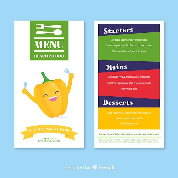 Menu enfants restaurant Vecteur gratuit