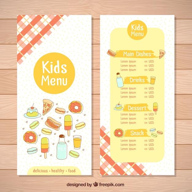 Menu Fantastique Pour Les Enfants Avec Des Produits Différents Vecteur gratuit
