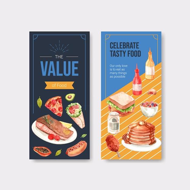 Menu Et Flyer Avec La Conception Du Concept De La Journée Mondiale De L'alimentation Pour Le Restaurant Et L'aquarelle De Dépliant Vecteur gratuit