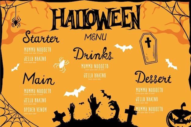 Menu Halloween Design Dessiné à La Main Vecteur gratuit