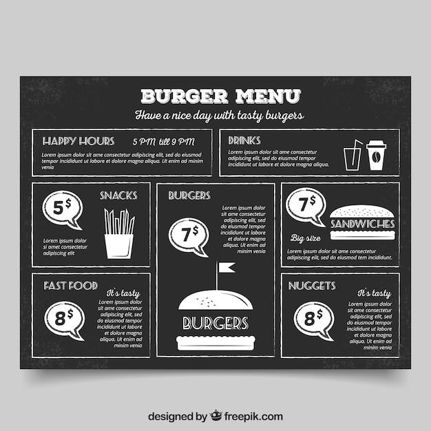 Menu hamburger vintage sur un tableau noir t l charger des vecteurs gratuitement for Ecrire sur un tableau noir