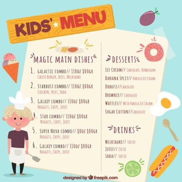 Menu Hand-drawn Enfant Avec Le Jeune Chef Et Des Produits Vecteur Premium