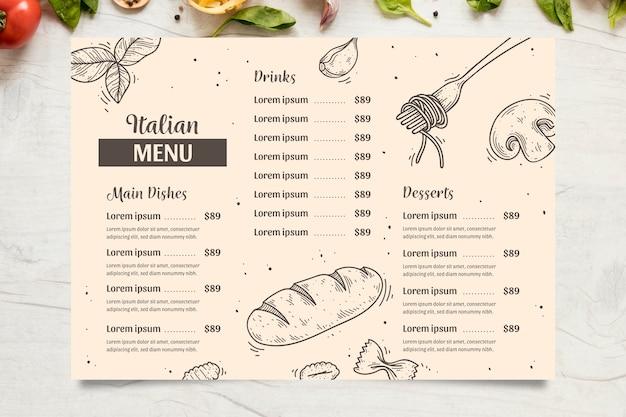 Menu Italien Avec Plats, Boissons Et Desserts Vecteur gratuit