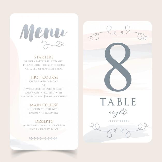 Menu de mariage aquarelle neutre avec carte de numéro de table Vecteur Premium
