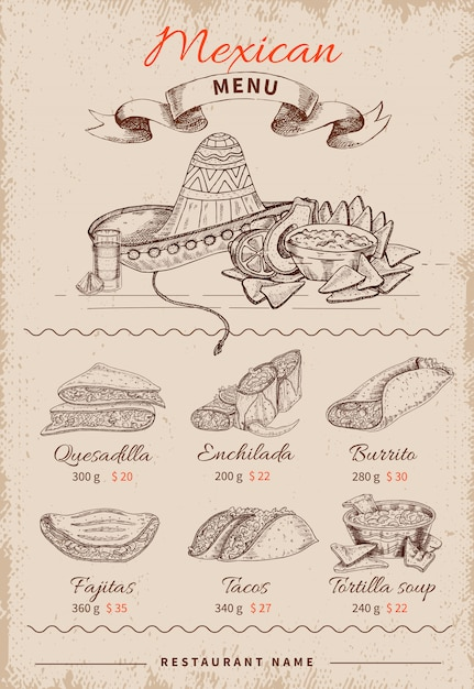 Menu Mexicain Dessiné à La Main Vecteur gratuit