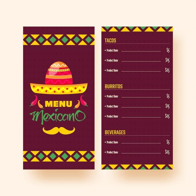 Menu Mexicain Pour Le Restaurant Et Le Café. Vecteur Premium