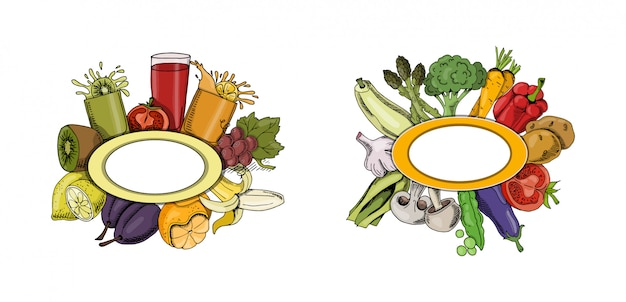 Menu de la nourriture collection automne Vecteur Premium
