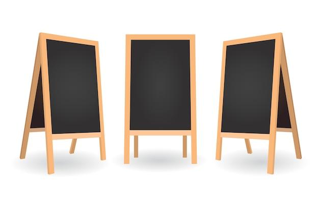Menu De Panneau Pour Café Dans Une Position Différente. Vider Le Tableau Propre. Tableaux Noirs Avec Cadres En Bois. Vecteur Premium