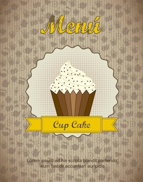 Menu De Pâtisserie Avec Illustration Vectorielle De Tasse Cake Vecteur Premium