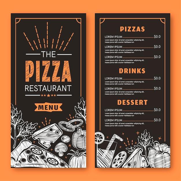 Menu pizza moderne avec petits dessins Vecteur gratuit