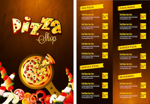 Menu de pizza pour le restaurant et le café. Vecteur Premium