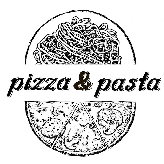 Menu pizzas et pâtes. éléments calligraphiques et typographiques. Vecteur Premium