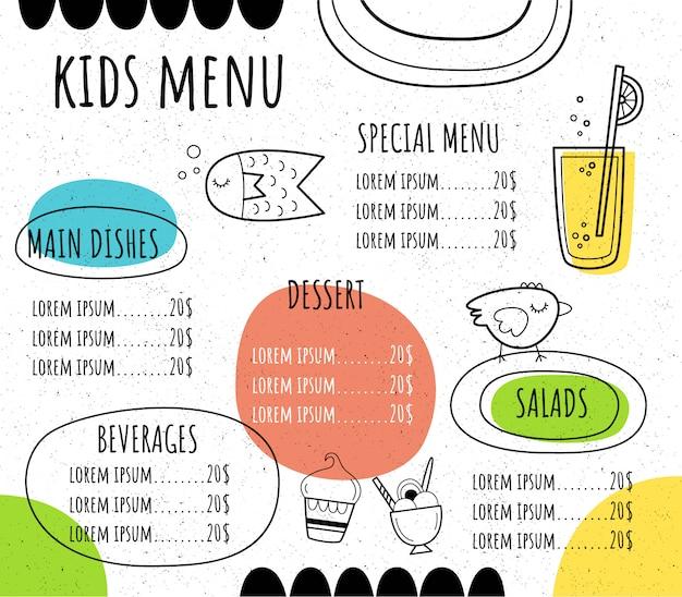 Menu Pour Enfants Dans Un Style Dessiné à La Main. Vecteur Premium