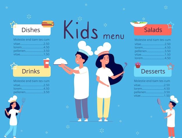 Menu Pour Enfants Vecteur Premium