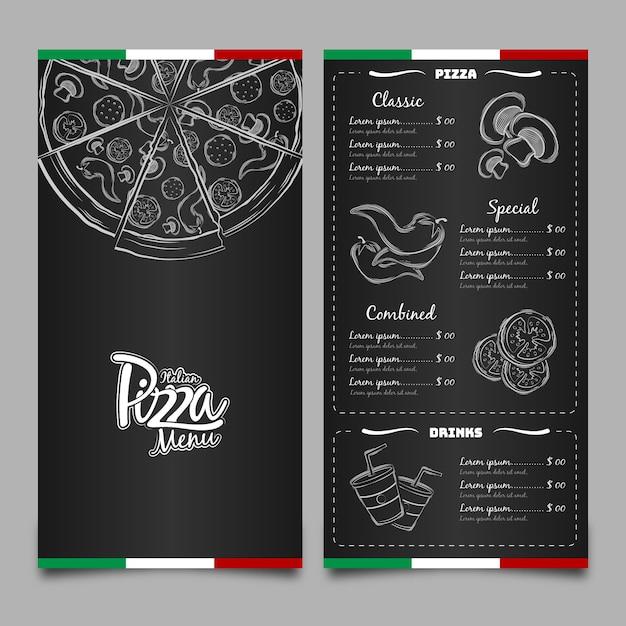 Menu pour restaurant pizzeria Vecteur Premium