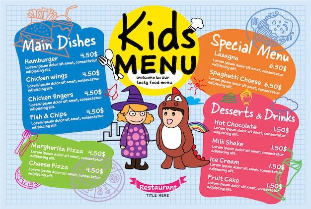 Menu de repas coloré pour enfants au restaurant Vecteur Premium