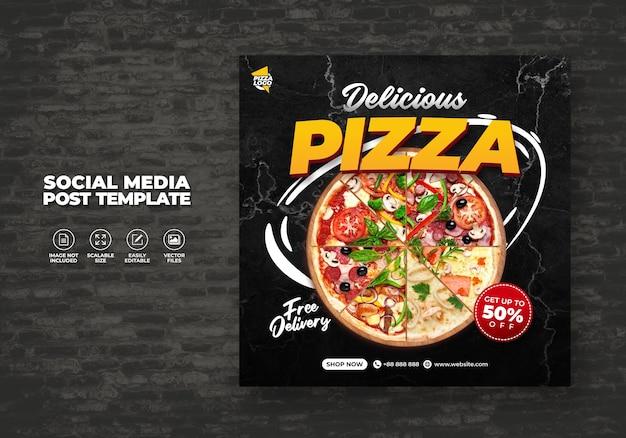 Menu De Restaurant Alimentaire Et Modèle De Pizza Délicieuse Pour Les Médias Sociaux Vecteur Premium