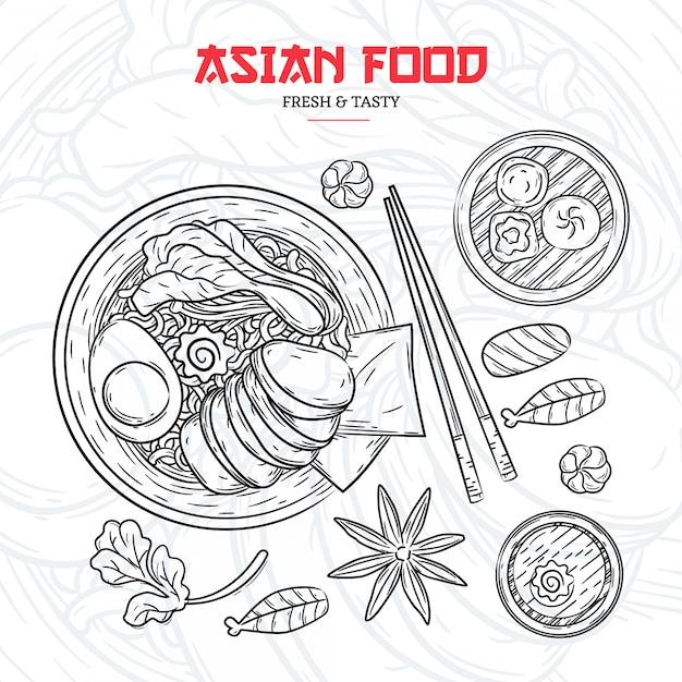 Menu de restaurant asiatique dessinés à la main Vecteur Premium