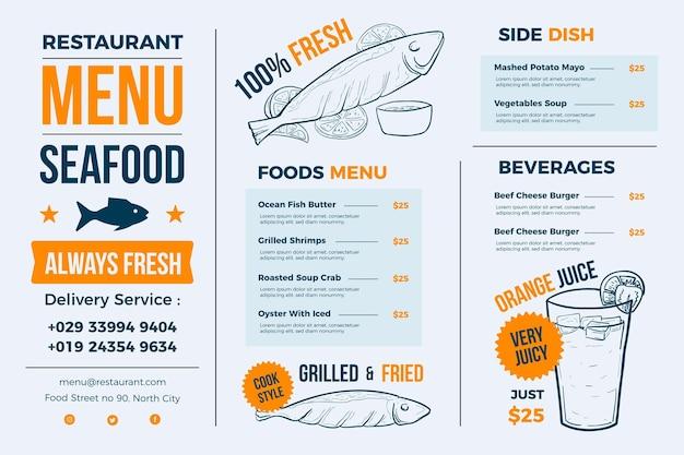 Menu De Restaurant Bleu Clair Pour Plateforme Numérique Vecteur gratuit