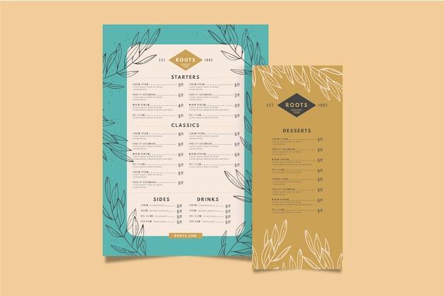 Menu de restaurant coloré modèle Vecteur gratuit