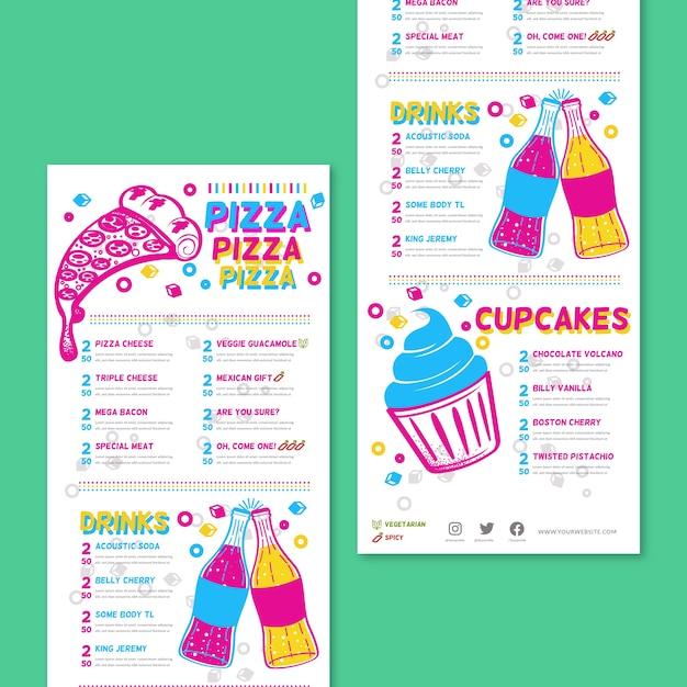 Menu de restaurant coloré avec pizza Vecteur gratuit