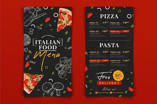 Menu De Restaurant De Cuisine Italienne Dessiné à La Main Vecteur gratuit