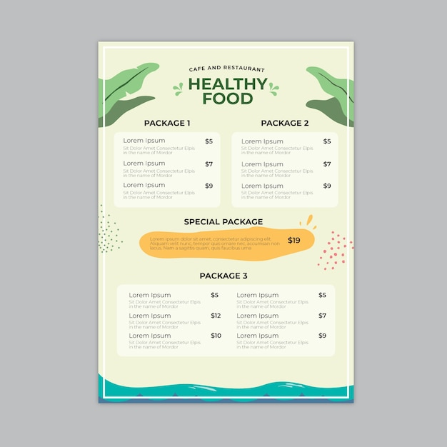 Menu De Restaurant Design Coloré Vecteur gratuit