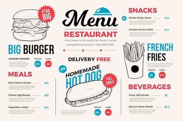 Menu De Restaurant Léger Pour Plateforme Numérique Vecteur gratuit