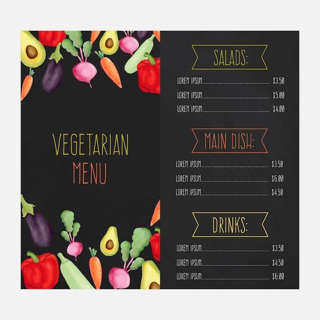 Menu de restaurant avec des légumes à l'aquarelle Vecteur Premium