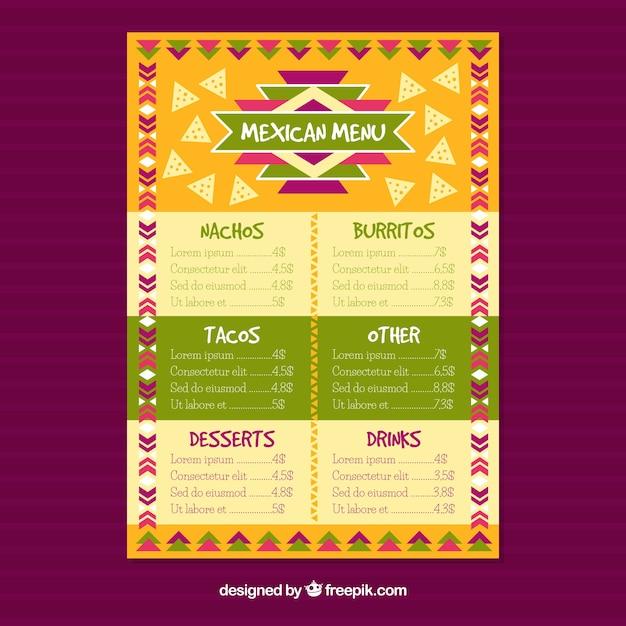 Menu Restaurant Mexicain Coloré Vecteur gratuit