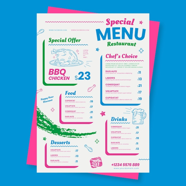 Menu de restaurant avec modèle d'offre spéciale Vecteur gratuit