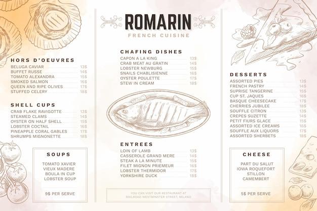 Menu De Restaurant Numérique Vecteur gratuit