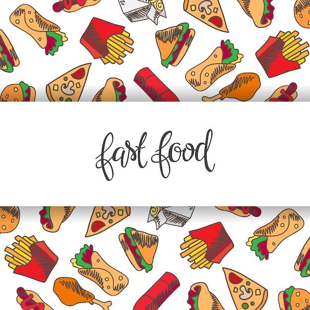 Menu de restauration rapide. ensemble d'icônes sur le fond. frites, hamburger, frites de patates douces Vecteur gratuit