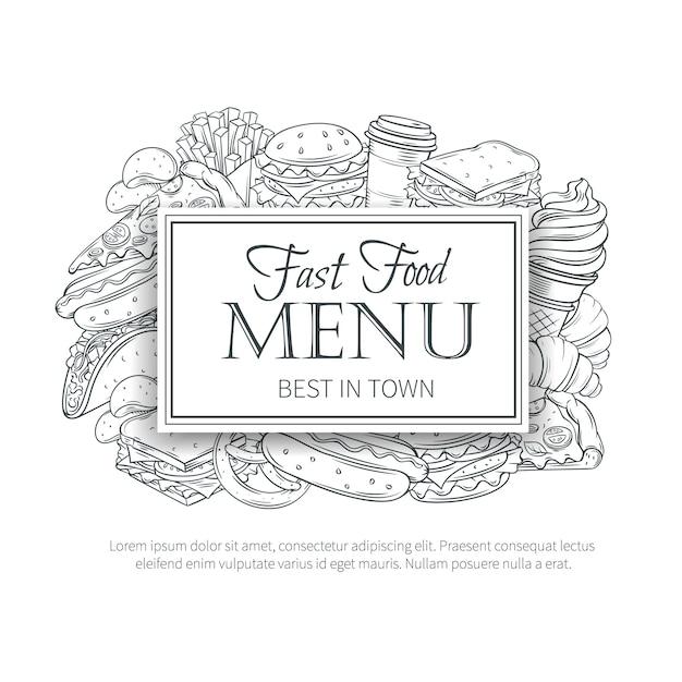 Menu De Restauration Rapide. Vecteur Premium