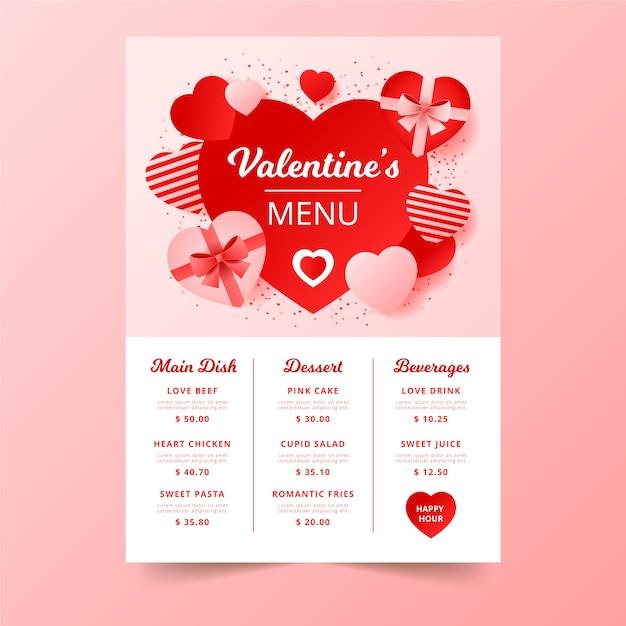 Menu saint valentin avec des boîtes de chocolat Vecteur gratuit