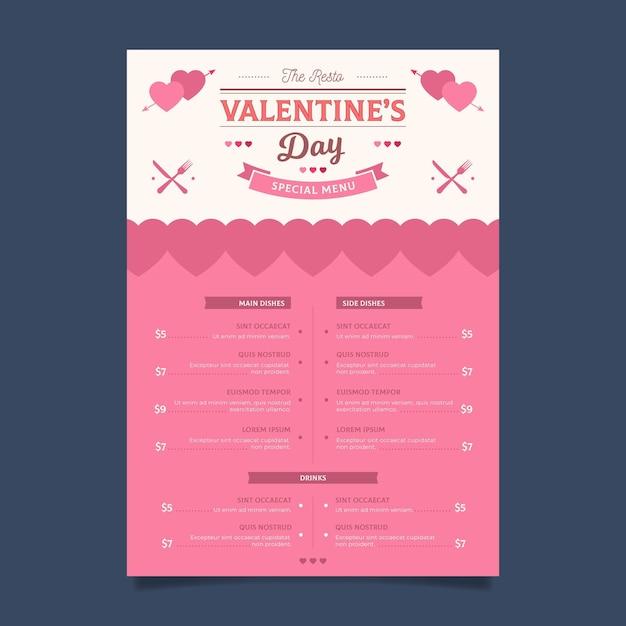 Menu De La Saint-valentin Design Plat Vecteur gratuit