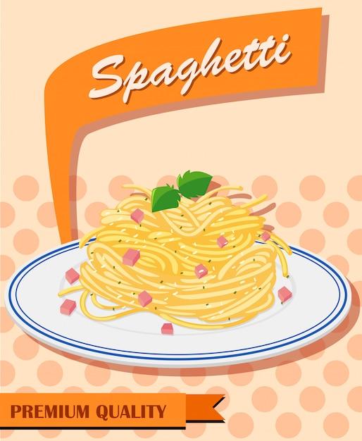 Menu Spaghetti Sur Un Poster Vecteur gratuit