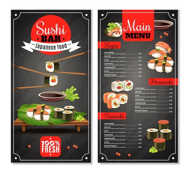 Menu sushi bar Vecteur gratuit