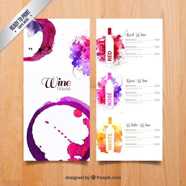 Menu vins de aquarelle Vecteur gratuit