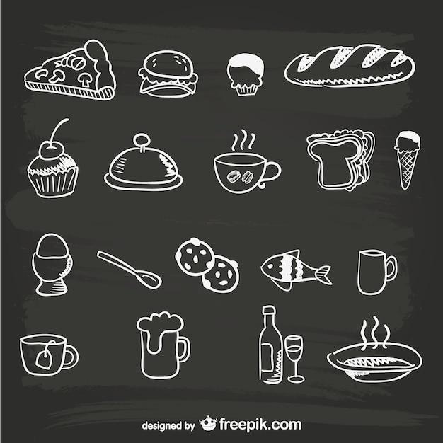 Menus graphiques de nourriture dessinés à la main Vecteur gratuit