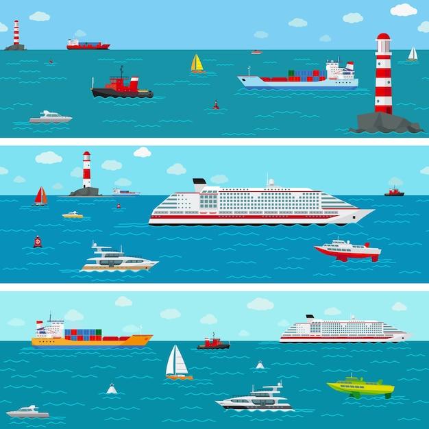 Mer Avec Bateau. Bateau Et Expédition, Yacht Et Paquebot Vecteur gratuit