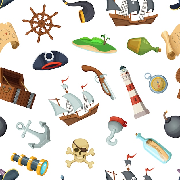 Mer dessin animé pirates motif ou arrière-plan Vecteur Premium