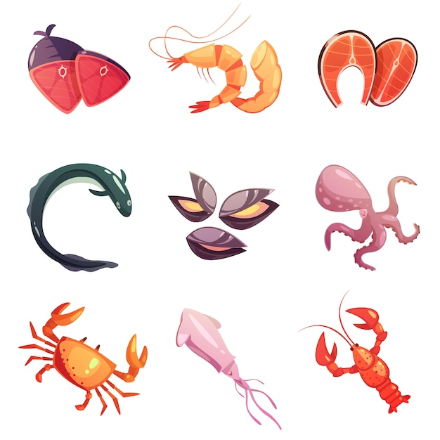 Mer Food Cartoon Icons Set Vecteur gratuit