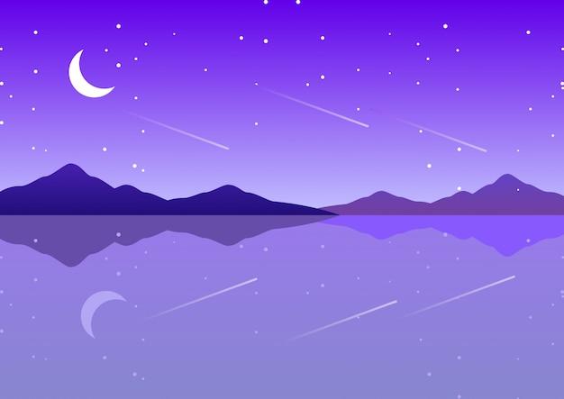 Mer pourpre avec paysage fantastique de nuit étoilée de lune Vecteur Premium