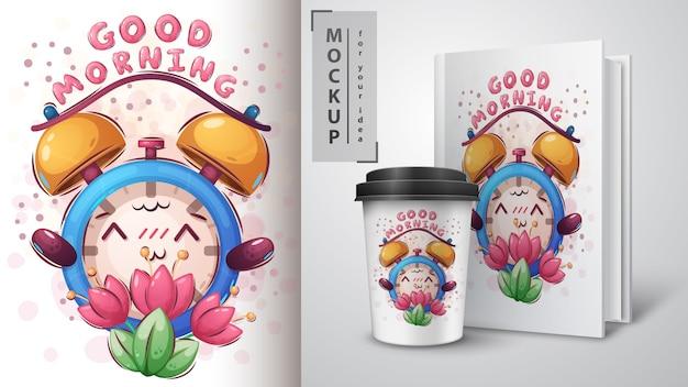 Merchandising Réveil Fleur Vecteur gratuit