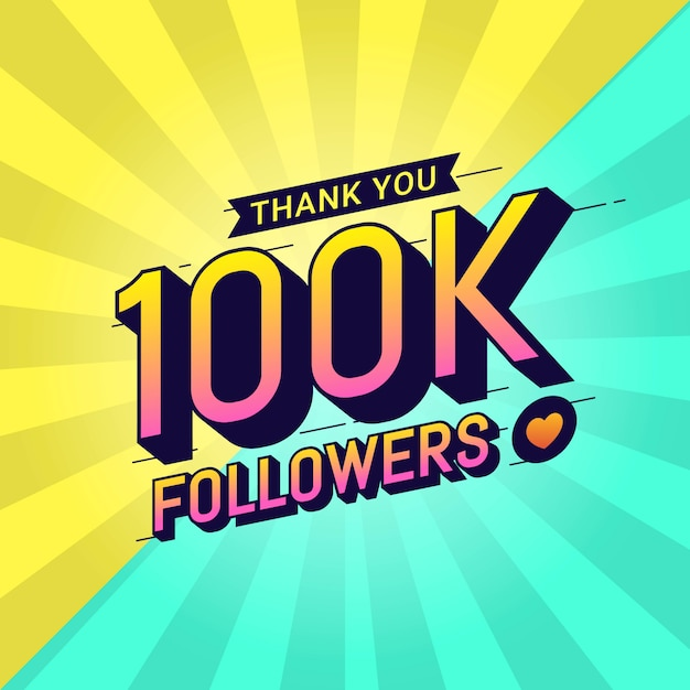 Merci 100k followers bannière de félicitations Vecteur Premium