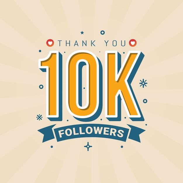 Merci 10k followers bannière de félicitations Vecteur Premium